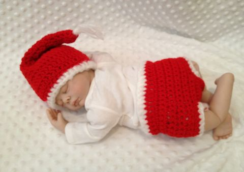 Newborn,Santa,Hat,and,Diaper,Cover,Set,Santa Hat, Santa Diaper Cover Set