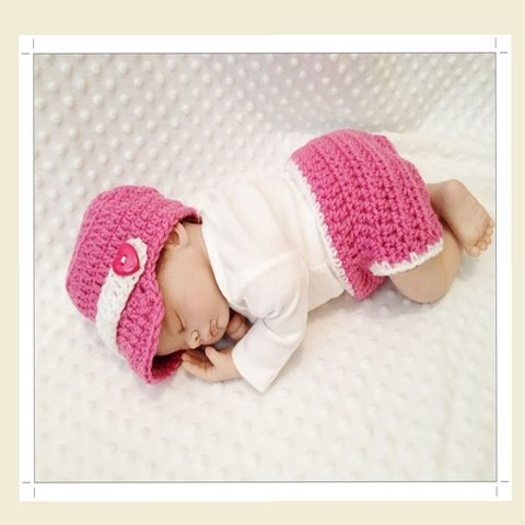 Baby,Girl,Pink,Newsboy,Hat,and,Diaper,Cover,Set,Girl Newsboy, Pink Diaper Cover Set, Pink Diaper Set