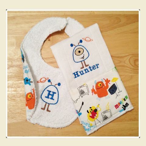 Monster,Bib,and,Burp,Cloth,Personalized,Set,Monster Bibs, Monster Burp cloth, Baby Gift Sets