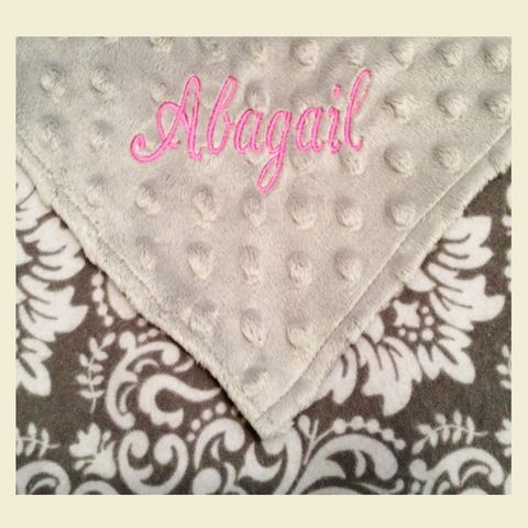 Personalized,Grey,Damask,with,Minky,Stroller,Blanket,grey damask blanket, damask, stroller blanket, todder blanket