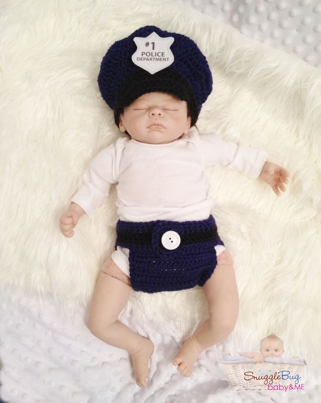 Boys Police Hat and Diaper Cover Set photo prop - product images  of