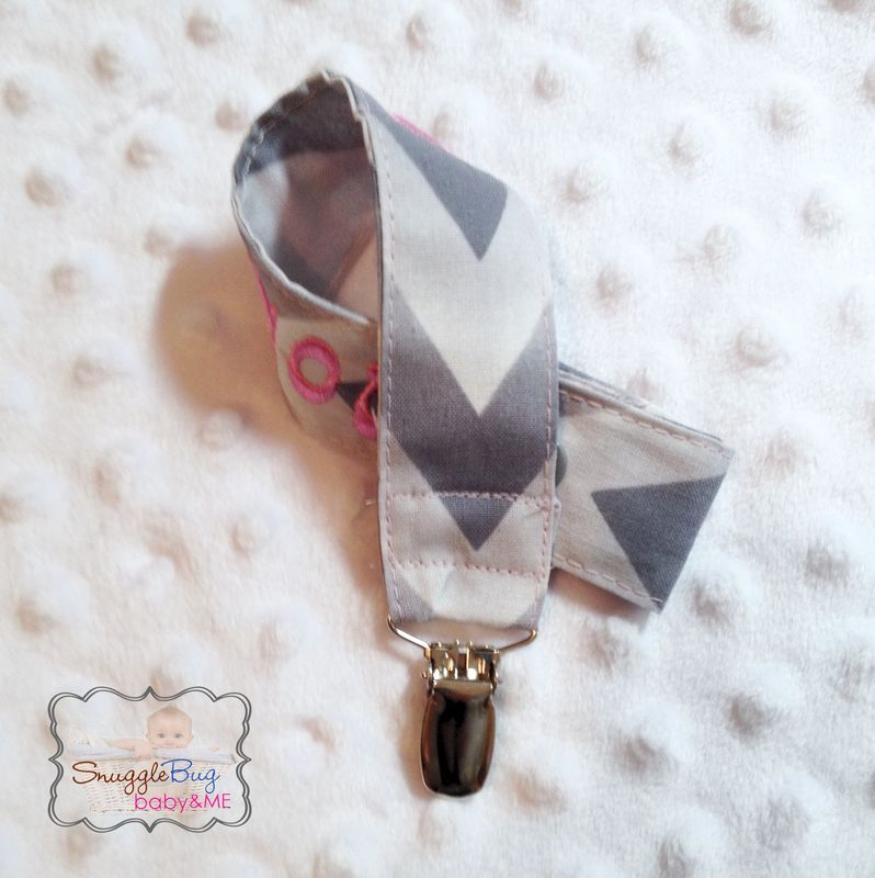 Grey Chevron Personalized Pacifier Clip - product images  of