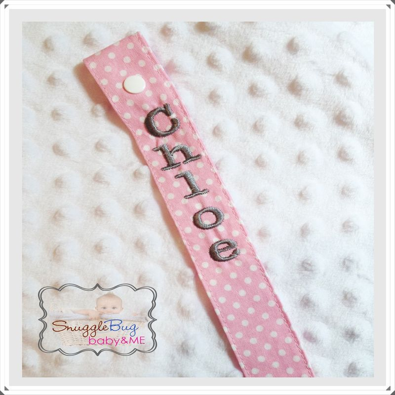 Pink and White Pin Dot Personalized Pacifier Clip - product images  of