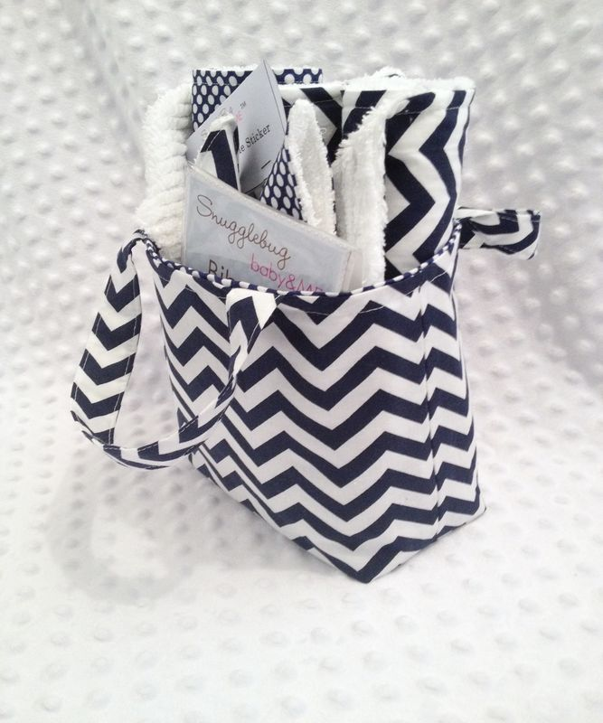 Navy Chevron Mini Diaper Tote and 8 pc Gift Set - product images  of