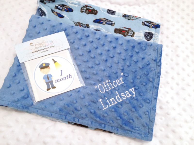 Policeman Minky Personalized Blanket - product images  of