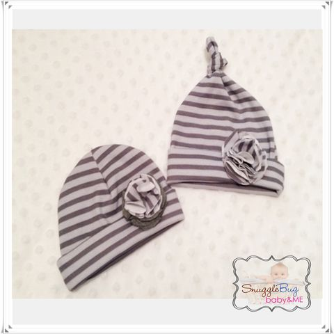 Grey,Striped,Girls,Newborn,hospital,hat,with,flower,Newborn Girls hat, hospital beanie, photo prop, baby shower gift, girl, grey striped hat
