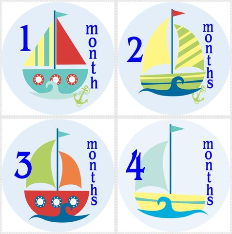 Sail,Boat-Nautical,Baby,Monthly,Birthday,Stickers,Sail Boat birthday stickers, Nautical stickers, monthly birthday stickers, newborn gift, baby shower gifts, monthly growth record, boys sailing