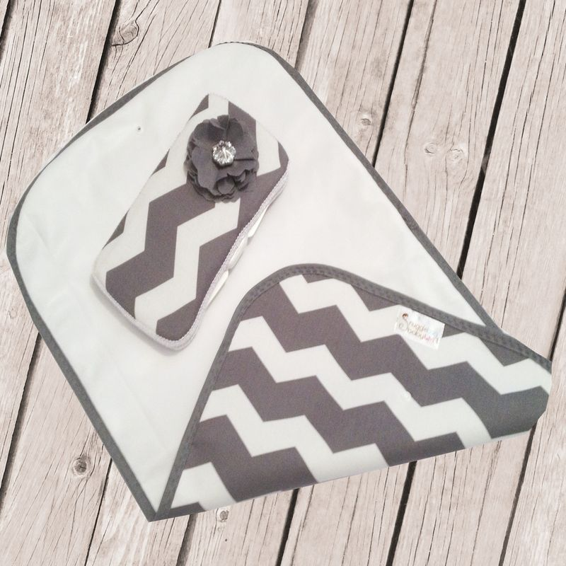 Chevron Grey and White Diaper Changing Set - product images  of
