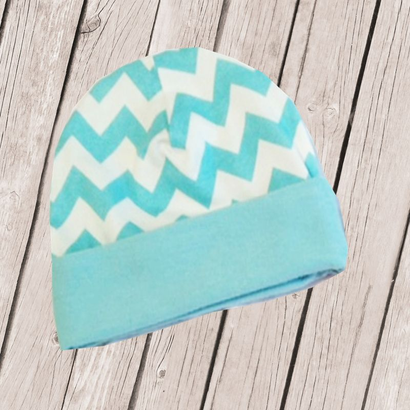 Pink or Aqua Chevron Designer Newborn Hospital Hats -Personalized - product images  of