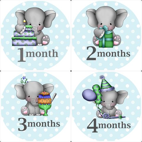 Boys,Blue,Elephant,Monthly,Onesie,Stickers,Boy onesie stickers, elephant onesie stickers, boys, newborn, boys baby gifts, baby shower gifts