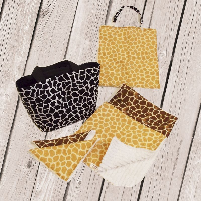 Black Giraffe Mini diaper Tote and 8 pc Gift Set - product images  of