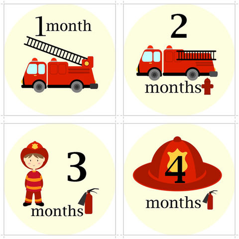 Firefighter,Onesie,Stickers,for,photography,Fireman onesie stickers, firefigher stickers, Birthday onesie stickers, baby shower gifts, baby shower ideas, monthly onesie stickers