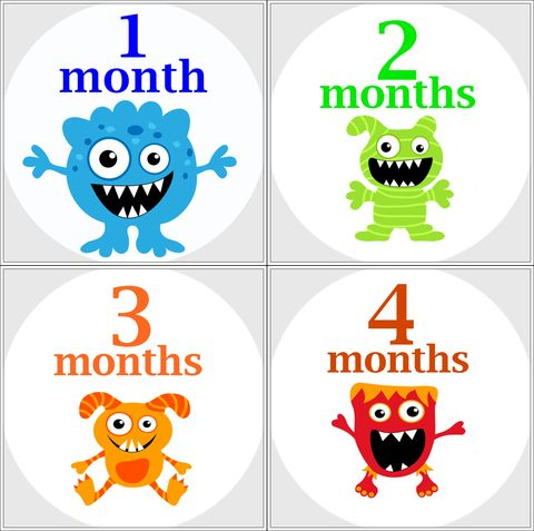 Monster,monthly,Onesie,Stickers,photo,props,Monster onesie stickers, monthly onesie stickers, monster birthday stickers