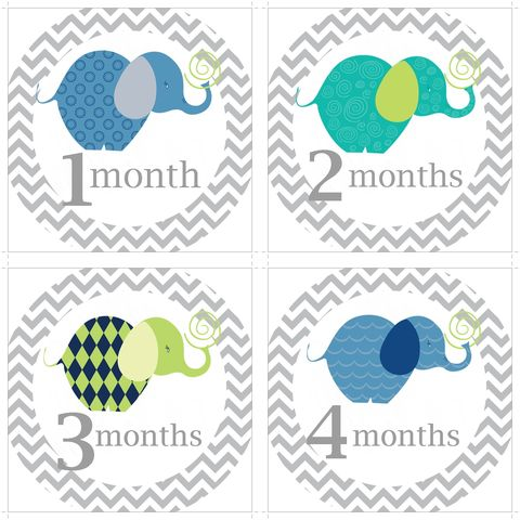Grey,Chevron,Blue,Elephant,Monthly,Birthday,Stickers,Blue Elephants, Boy Elephant Birthday Stickers, Monthly Onesie stickers, Grey Chevron Birthday Stickers, Baby Shower Gift, Newborn Gift