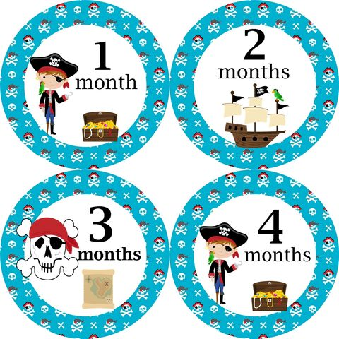 Pirates,and,skulls,Monthly,Birthday,Stickers,Pirate stickers, Pirate ships, pirate skulls, burthday stickers, Monthly birthday stickers, newborn stickers