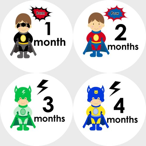 Super,Hero,Monthly,Birthday,Stickers,Super Hero Stickers, Hero Monthly stickers, newborn gifts, baby shower gift, birthday stickers