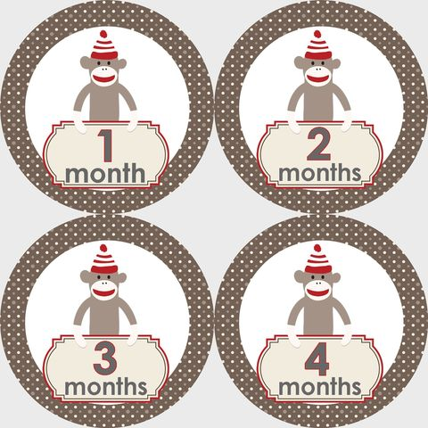 Sock,Monkey,II,Monthly,Birthday,Stickers,Sock Monkey Birthday Stickers, Sock Monkey Stickers, Sock Monkey, Monthly Birthday Stickers, Baby Shower Gift Ideas