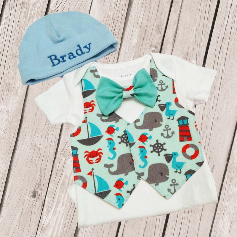 Nautical Seaside Newborn Tie Vest and Hat Body Suit Outfit - product images  of