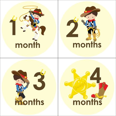 Cowboy,Monthly,Birthday,Stickers,Cowboy Onesie Stickers, Cowboy Monthly Birthday Stickers, Cowboy, Horse, Cactus, Sherriff
