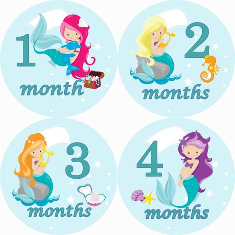 Mermaid,2,Monthly,Birthday,Stickers,Mermaids, Girl Birthday Stickers, Mermaid Birthday Stickers, Girls, newborn stickers, Baby Shower Gifts