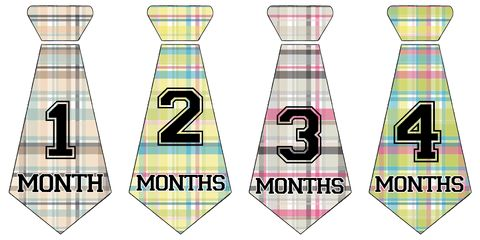 Boys,Plaid,Baby,Birthday,Stickers,Baby Onesie Stickers, Boys Necktie Stickers, Necktie Stickers, Baby Shower Gifts