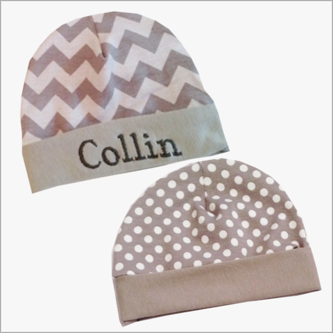Personalized,Grey,Polka,Dot,or,Chevron,Baby,Newborn,Hospital,Hat,Grey Chevron Newborn Hat, Grey polka dot Newborn hat, Chevron, Polka Dots, Grey, Hospital hat