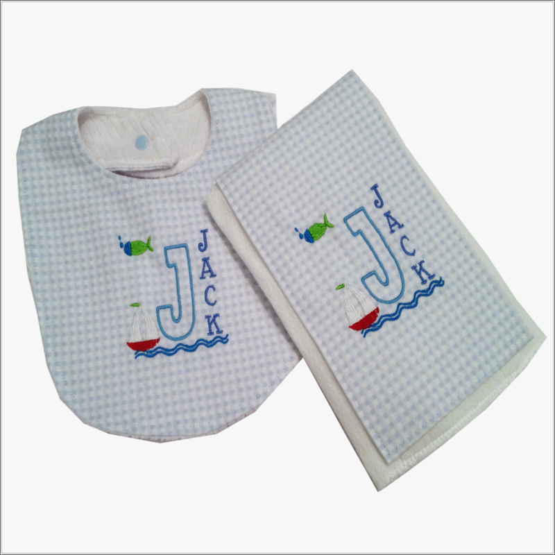 Personalized Sailboat 2pc Bib and Burp cloth Set with Minky back  - product images  of