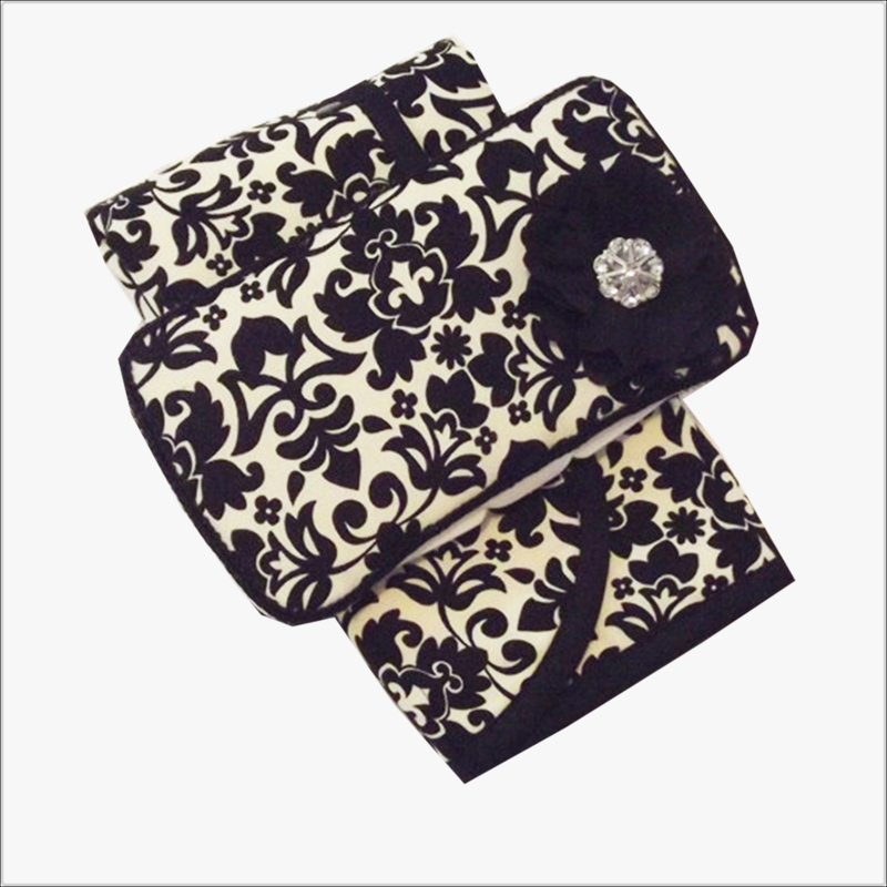 Black Damask Diaper Wipe Case and Changing Pad 2pc Set - product images  of