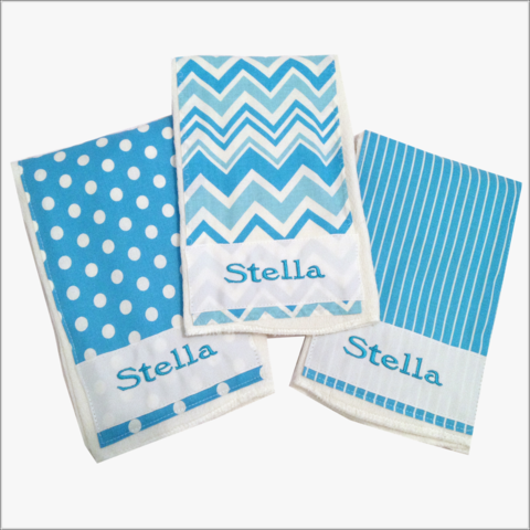 Aqua,Blue,Personalized,Burp,Cloth,Set,with,Stripes,and,Polka,Dots,Burp cloth set, Polka Dots, Stripes, Newborn Burp Cloths, Baby Shower Gifts, Personalized Burps, Aqua, Girls