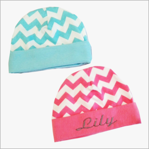 Pink,or,Aqua,Chevron,Designer,Newborn,Hospital,Hats,-Personalized,Chevron Newborn hat, Pink Chevron Baby Hospital Hat, Pink Chevron Hat