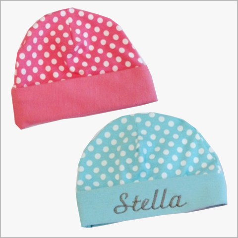 Aqua,or,Pink,Polka,Dot,Newborn,Hospital,Hats,Personalized,Pink polka dot, pink personalized newborn hat, baby hospital hat, aqua polka dot hat, personalized baby hats