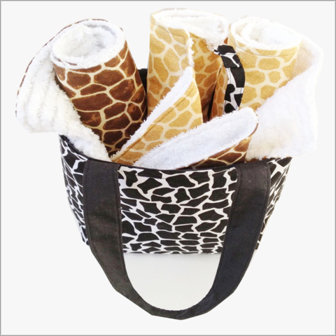 Black,Giraffe,Mini,diaper,Tote,and,8,pc,Gift,Set,Giraffe Baby gift set, baby girl set, baby Boy set, Black Girafee, Orange Giraffe, Brown Giraffe, baby shower gift, burp cloth set, bib clips,wash cloth set, newborn gifts, 8 pc baby set