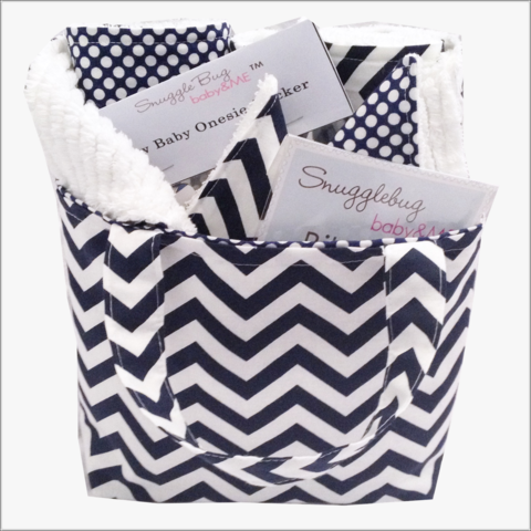 Navy,Chevron,Mini,Diaper,Tote,and,8,pc,Gift,Set,Chevron Navy and White Baby gift set, baby shower gift, burp cloth set, bib clips,wash cloth set, newborn gifts, 8 pc baby set
