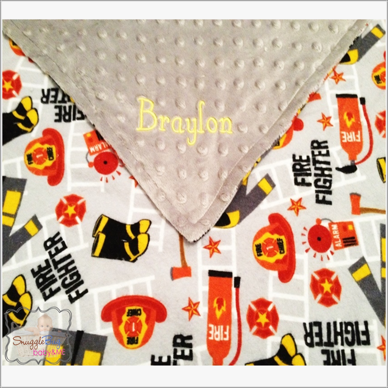 Personalized Fireman, Firefighter Minky Blanket - product images  of