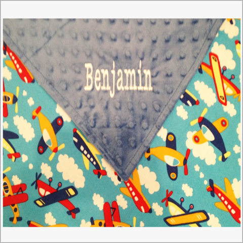 Personalized,Airplane,in,primary,colors,Stroller,baby,Blanket,,Minky,dot,Blue,Backing,Minky Blankets, Airplane baby blanket, airplanes, stroller blanket
