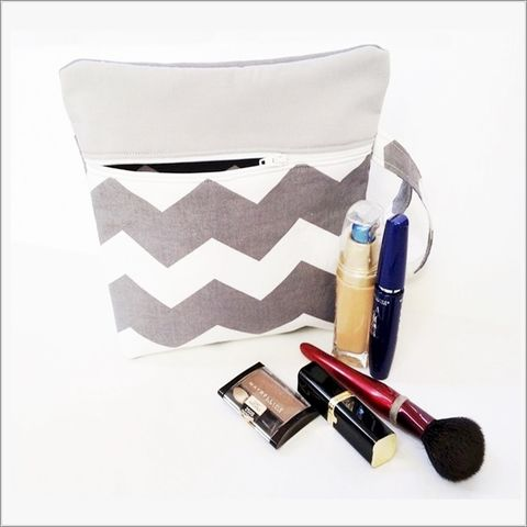 Grey,and,White,Chevron,Makeup,Bag,with,Wristlet,Grey Chevron, Grey Chevron Makeup bag, Chevron Wristlet