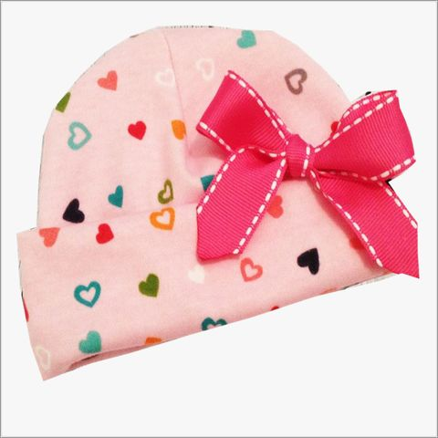 Pink,Hearts,Newborn,Hospital,Hat,Pink Hearts Newborn hospital Hat, newborn beanies, pink, yellow, blue, orange, baby shower gifts, Heart Hat