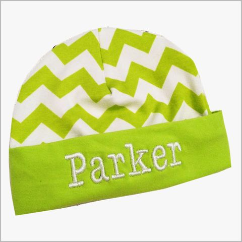 Lime,Green,and,White,Chevron,Newborn,Hospital,Hat,Lime Green Chevron hat, Lime Green Zig Zag Newborn hat, boy, girl, Lime Green Baby Hospital Hat, Newborn gift, baby shower gift