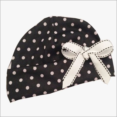 Black,with,Grey,Polka,Dots,and,Bow,Newborn,Hospital,Hat,Black and grey polka dot hat, Black Newborn hat, Black and Grey Polka Dots Newborn Hat, baby shower gift, polka dots newborn hat