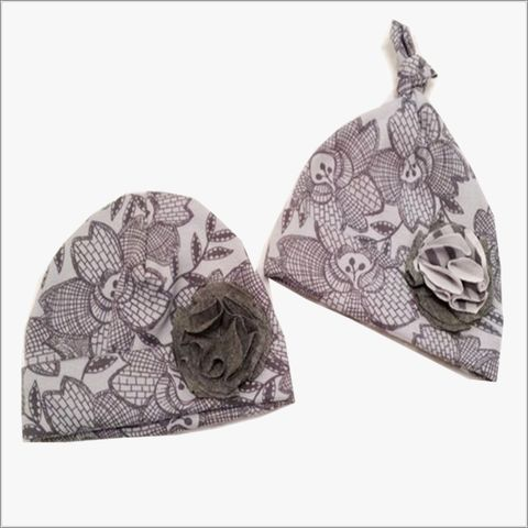 Grey,Floral,with,Black,Newborn,Hospital,Hat,Flower,Grey and Black Newborn Hat, Girls Beanie, Girls Newborn, baby shower gift