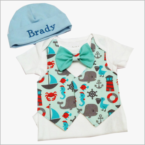 Nautical,Seaside,Newborn,Tie,Vest,and,Hat,Body,Suit,Outfit,Nautical Newborn tie and vest outfit, sea, sailboats, lighthouses, whales, boys newborn outfit, boy bodysuit, boy onesie set, baby hat and onesie set, tie and vest set
