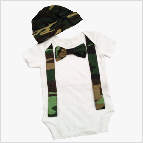 Boys,Camo,Suspender,and,bow,tie,Body,Suit,coming,home,outfit, Camo Suspender Set, Boys Coming Home outfit, Camoflauge