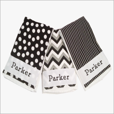 Personalized,Black,and,Grey,Chevron,Burp,Cloth,Set,with,Polka,Dot,Stripes,Black and Grey Chevron, Black, Polka Dots, Stripes, Personalized Burp Cloth Set, Newborn Gifts, Baby shower gift