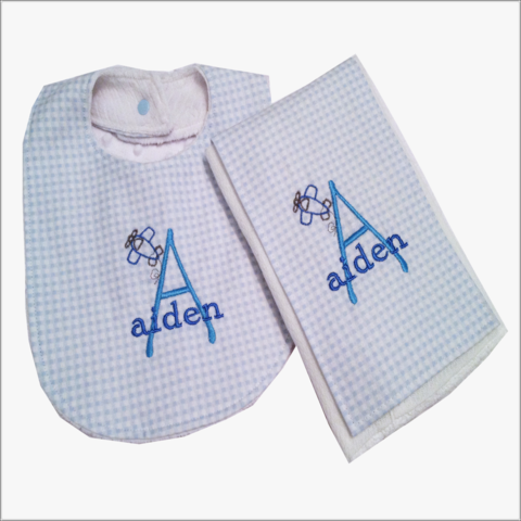 Personalized,Blue,and,White,Airplane,2,pc,Bib,Burp,Cloth,set-Minky,Back,Airplane  bib and burp cloth set, newborn gift, baby shower gift, blue checked bib, blue checked burp cloth, gingham, airplane , baby boy, blue