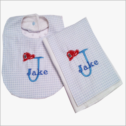 Personalized,Blue,and,White,Fireman,Hat,2pc,Bib,Burp,cloth,set,-Minky,back,Fireman Hat  bib and burp cloth set, newborn gift, baby shower gift, blue checked bib, blue checked burp cloth, gingham, Fireman , Fireman hat, baby boy, blue, minky