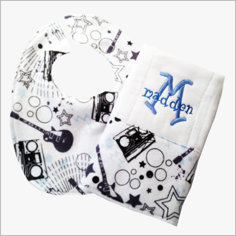Guitar,2pc,Personalized,Bib,and,Burp,Cloth,Set,Guitars personalized Bib and Burp Cloth set, boys baby shower gifts, newborn, musical instruments, music