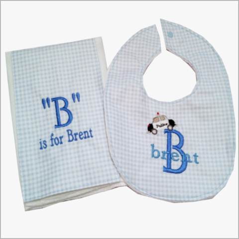 Boys,2-piece,Personalized,Police,Car,design,Bib,and,Burp,Cloth,Set,Police Boys baby gift set, personalized bib and burp cloth set for boys, police car design, blue checked flannel