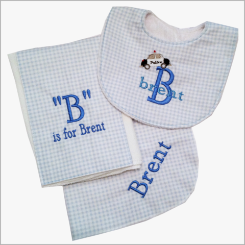 3pc,Boys,Personalized,Baby,Gift/police,car,name/Receiving,Blanket,,Bib,,and,Burp,cloth,Police baby set, 3pc baby gift set,personalized baby gifts,babies,newborn boys,blue