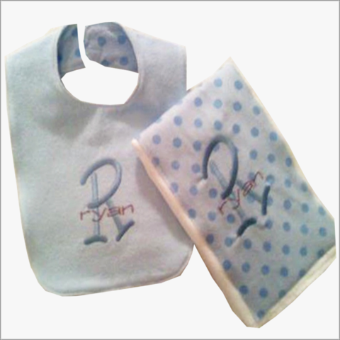 2pc,Blue,Polka,Dot,Burp,and,Bib,set,Baby shower gifts,boys,blue polka dots,personalized, 2pc boys gift set