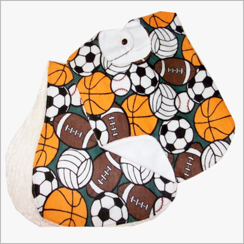 Sports,2pc,bib,and,burp,cloth,set,Baby 2pc bib set, baby shower gift, football, soccer, tennis, basketball, burp cloth, bibs, flannel, chenelle